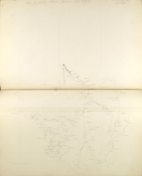 f.26v, 27'   Map of country between Sehwan & Karachi.  Trip to Laki Pass with A.L.B.' (Sind).